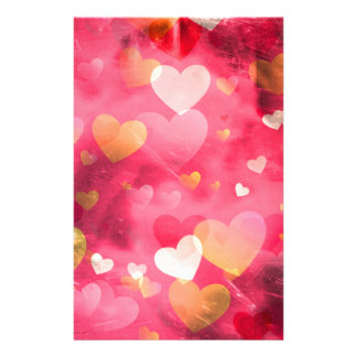 Pink artistic hearts design stationery