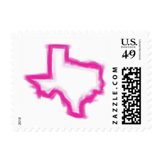 Pink artistic Texas outline postage stamps