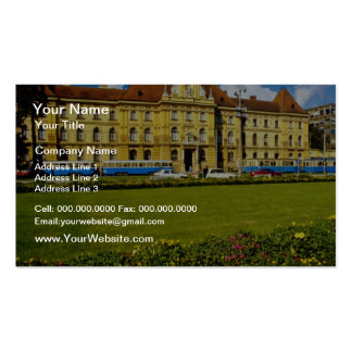 Pink Arts and Crafts Museum, Zagreb, Croatia flowe Business Card Template
