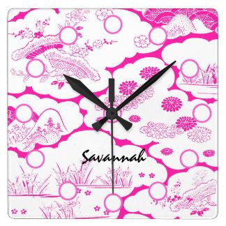 Pink Asian Flower Lanscape  Wall Clock