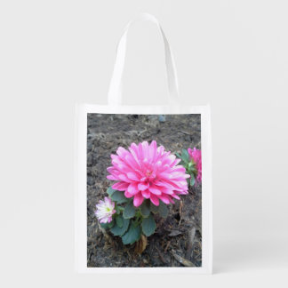 Pink Aster Flowers Grocery Bag