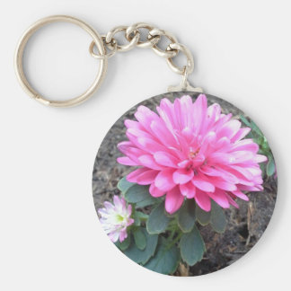 Pink Aster Flowers Keychain