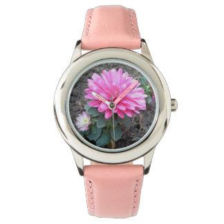 Pink Aster Flowers Wrist Watch