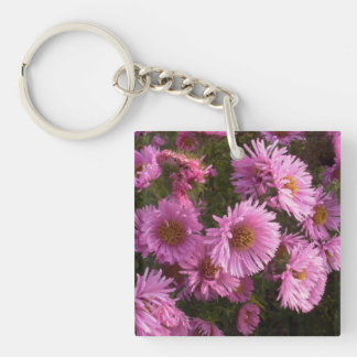 pink asters keychain