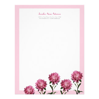 Pink Asters Personalizable Letterhead