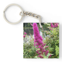 Pink Astilbe Flowers by a Pond Keychain