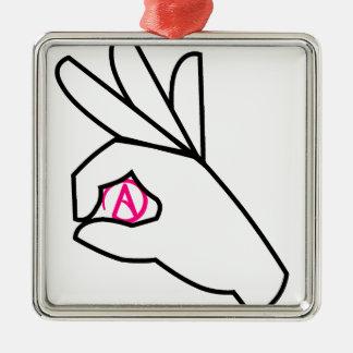 pink atheist symbol metal ornament