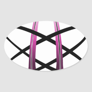 Pink Atheist Symbol Oval Sticker