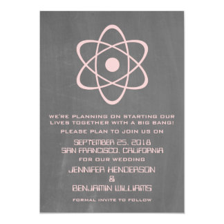 Pink Atomic Chalkboard Save the Date Invite