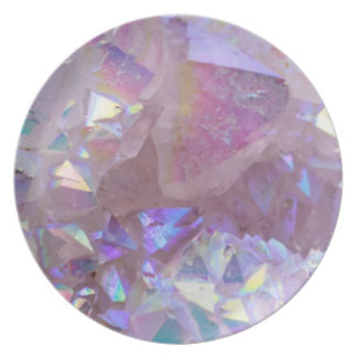 Pink Aura Crystals Dinner Plate