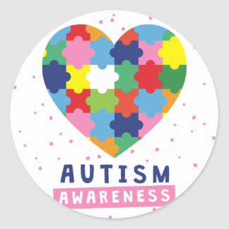 pink autism awareness classic round sticker