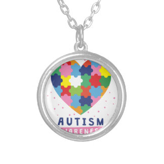 pink autism awareness silver plated necklace
