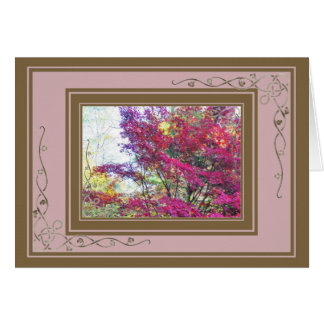 Pink Autumn Leaves Card
