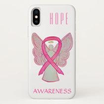 Pink Awareness Angel Ribbon Custom iPhone X Case