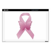 """Pink Awareness Ribbon 17"""" Laptop Decals"""
