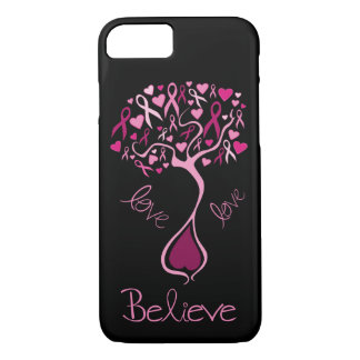 Pink Awareness Ribbon Believe and Love iPhone 8/7 Case