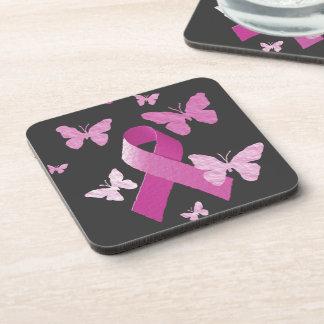 Pink Awareness Ribbon Beverage Coaster