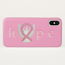 Pink Awareness Ribbon Cancer Angel iPhone X Cases
