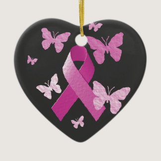 Pink Awareness Ribbon Ceramic Ornament