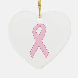 Pink Awareness Ribbon Ceramic Ornament