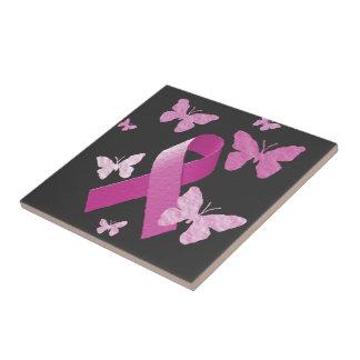 Pink Awareness Ribbon Ceramic Tile