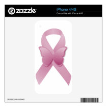 Pink Awareness Ribbon Decal For iPhone 4