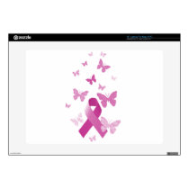 Pink Awareness Ribbon Decals For Laptops
