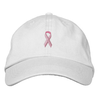 Pink Awareness Ribbon Embroidered Hat