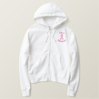 Pink Awareness Ribbon Embroidered Hoodie