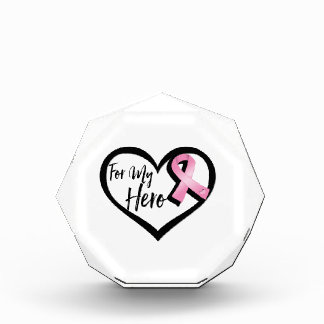 Pink Awareness Ribbon For My Hero Acrylic Award