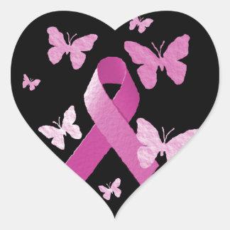Pink Awareness Ribbon Heart Sticker