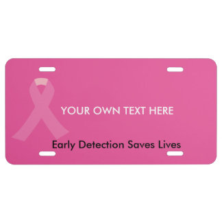 Pink Awareness Ribbon License Plate