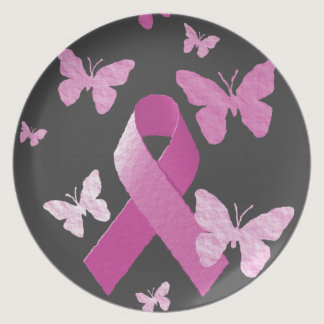 Pink Awareness Ribbon Melamine Plate