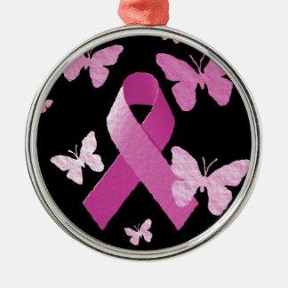 Pink Awareness Ribbon Metal Ornament