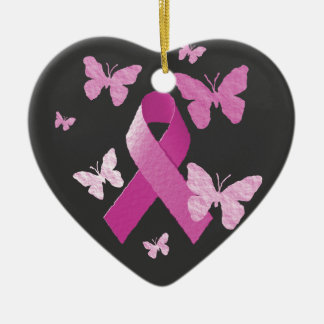 Pink Awareness Ribbon Ornaments