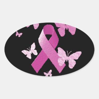 Pink Awareness Ribbon Oval Sticker