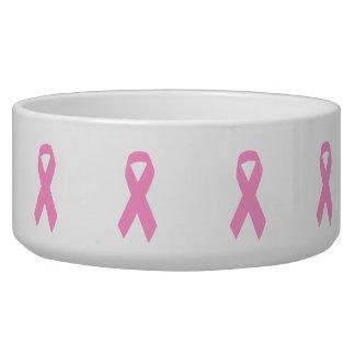 Pink Awareness Ribbon Dog Bowl