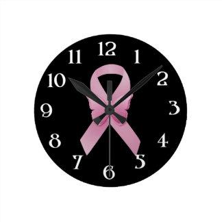 Pink Awareness Ribbon Round Clock