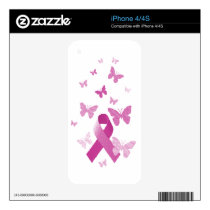 Pink Awareness Ribbon Skin For iPhone 4