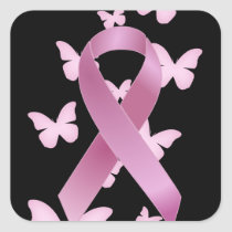 Pink Awareness Ribbon Square Sticker