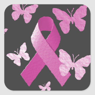 Pink Awareness Ribbon Square Sticker