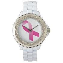 Pink Awareness Ribbon Symbol Woman Watch