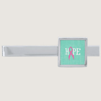 Pink Awareness Ribbon with the word Hope Silver Finish Tie Clip