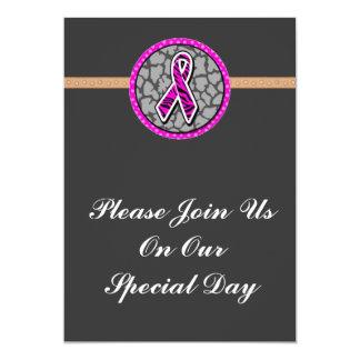 pink awareness ribbon zebra pink accent card