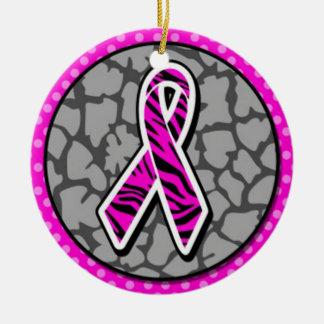 pink awareness ribbon zebra pink accent ceramic ornament