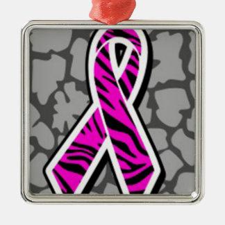 pink awareness ribbon zebra pink accent metal ornament