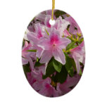 Pink Azalea Bush Spring Flowers Ceramic Ornament