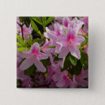 Pink Azalea Bush Spring Flowers Pinback Button