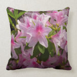 Pink Azalea Bush Spring Flowers Throw Pillow