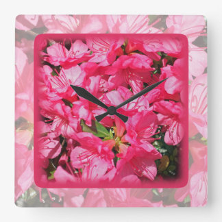 Pink Azalea Square Wallclocks